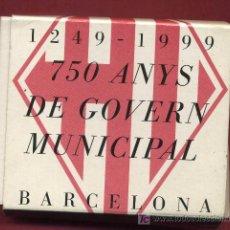 Euros: ESTUCHE 2000 PESETAS 1999, 750 AÑOS GOBIERNO MUNICIPAL BARCELONA , PLATA PROF, ORIGINAL FNMT. Lote 118204344