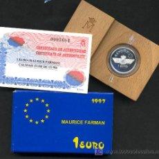 Euros: ESTUCHE MONEDA 1 EURO 1997 MAURICE FARMAN , PLATA PROF, ORIGINAL FNMT . Lote 45911809