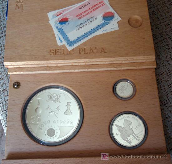 ESTUCHE COLECCION EUROS 1998 SERIE PLATA PROF 1 EURO 5 EUROS Y 25 EUROS HOMENAJE AL EJERCITO FNMT (Numismática - España Modernas y Contemporáneas - Ecus y Euros)