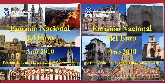 2 CARTERAS ,SETS, EUROS ESPAÑA AUTONOMIAS, 2010 ,CASTILLA Y LEON ,CASTILLA LA MANCHA.ORIGINALES ,RB (Numismática - España Modernas y Contemporáneas - Ecus y Euros)