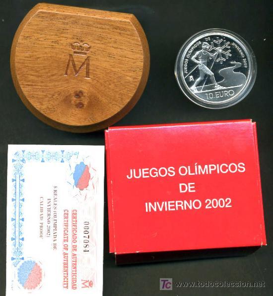 SET ESTUCHE 10 EUROS PLATA , PROOF , JUEGOS OLIMPICOS INVIERNO 2002 . ORIGINAL FNMT (Numismática - España Modernas y Contemporáneas - Ecus y Euros)