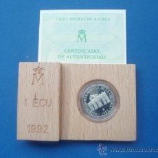 Euros: MONEDA DE 1 ECUS DE PLATA DEL AÑO 1,992 NUEVA SIN SACAR DE SU ESTUCHE CON CERTIFICADO. Lote 27079641