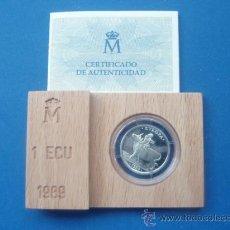 Euros: MONEDA DE 1 ECUS DE PLATA DEL AÑO 1,989 NUEVA SIN SACAR DE SU ESTUCHE CON CERTIFICADO. Lote 34648388