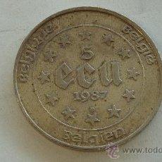 Euros: 5 ECUS DE BELGICA EN PLATA. 1987. MIDE 3,6 CM DE DIAMETRO. . Lote 27798642
