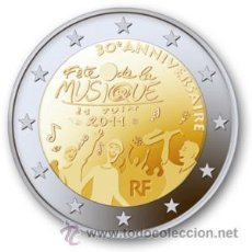 Euros: FRANCIA 2 EUROS 2011 30º ANIV FESTIVAL DE LA MUSICA. Lote 211656203