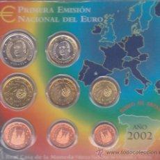 Euros: ESPAÑA , 2002 CARTERA CON 8 MONEDAS DE 1 CT A 2 EUROS, BIMETALICA 2, EUROSET, EURO SUB . Lote 29724436
