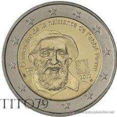 Euros: FRANCIA 2 EUROS 2012 CENTENARIO ABBE PIERRE. Lote 266648473