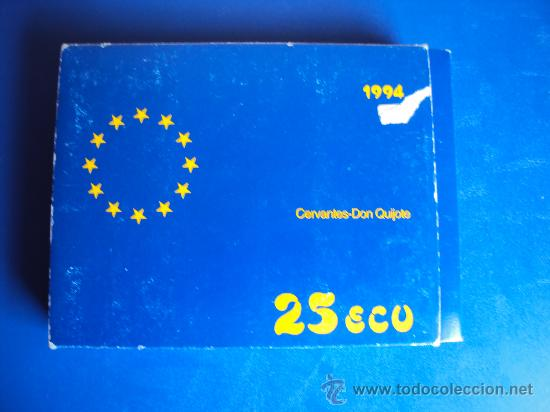 Euros: (ON-13)MONEDA DE 25 ECU DE PLATA PESO TOTAL 168,75 GRS.CERVANTES-DON QUIJOTE 1994 - Foto 4 - 35203225
