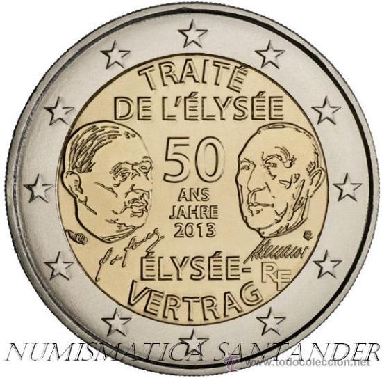 FRANCIA 2 EUROS 2013 50 AÑOS TRATADO DE ELYSEO (Numismática - España Modernas y Contemporáneas - Ecus y Euros)