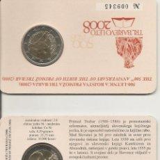 Euros: ESLOVENIA 2008. COINCARD 2 € CONMEMORATIVO DE PRIMOZ TRUBAR.. Lote 39893183