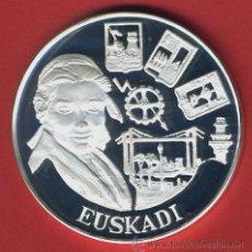 Euros: MONEDA ECU , SERIE AUTONOMIAS, EUSKADI , 1 ONZA 1995 , PLATA PURA PROOF , ORIGINAL, 75. Lote 43710095