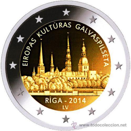 LETONIA 2 EUROS 2014 RIGA CAMPITAL EUROPEA DE LA CULTURA (Numismática - España Modernas y Contemporáneas - Ecus y Euros)