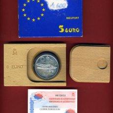 Euros: SET , ESTUCHE CON MONEDA 5 EURO EUROS PLATA , 1997 , FNMT , NIEUPORT , ORIGINAL. Lote 47539984