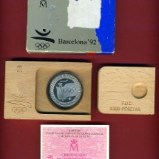 Euros: SET , ESTUCHE MONEDA 2000 PESETAS 1991 PLATA , FNMT , LLAMA OLIMPICA , BARCELONA 92 ,ORIGINAL. Lote 47540322
