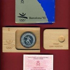 Euros: SET , ESTUCHE MONEDA 2000 PESETAS 1990 PLATA , FNMT , FUTBOL , BARCELONA 92 ,ORIGINAL. Lote 47540353