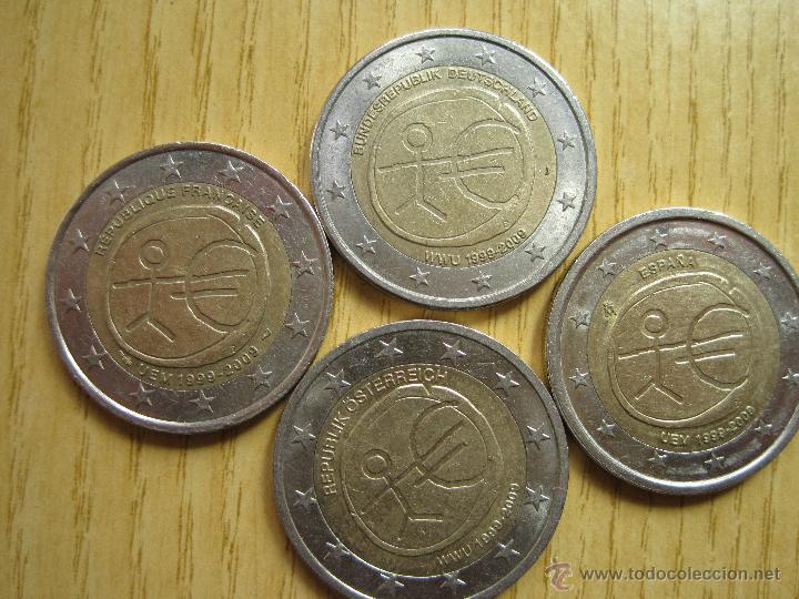 2 EUROS CONMEMORATIVAS 10º ANIVERSARIO / HOLANDA / ALEMANIA / FRANCIA (Numismática - España Modernas y Contemporáneas - Ecus y Euros)