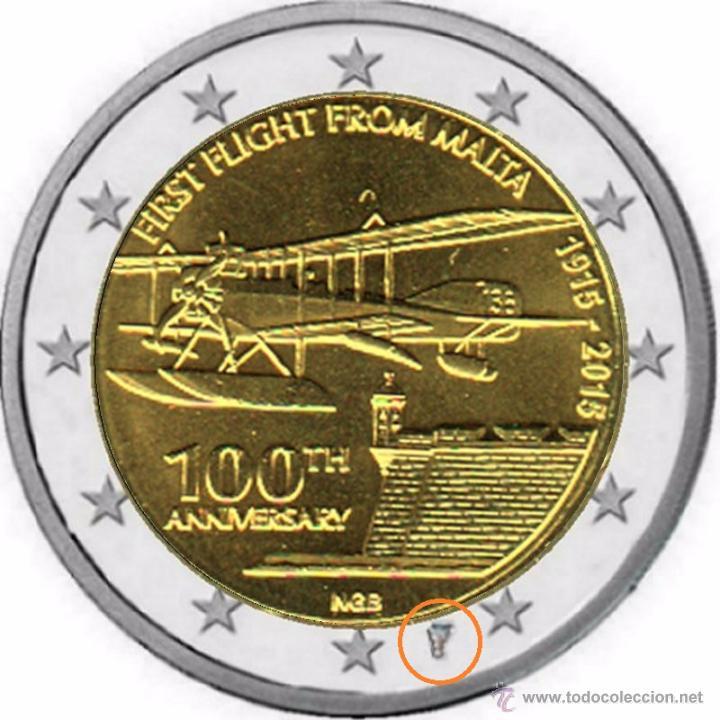 Euros: MALTA 2015. COINCARD DE 2 EUROS CONMEMORATIVA DE LOS 100 AÑOS DEL PRIMER VUELO DESDE MALTA - Foto 3 - 110437810