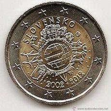 Euros: ESLOVAQUIA 2012. 2 EUROS CONMEMORATIVOS DEL 10º ANIVERSARIO DEL EURO. TYE. SIN CIRCULAR.. Lote 195494052