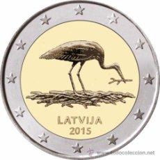 Euros: 2 EUROS CONMEMORATIVA LETONIA 2015 . CIGUEÑA . SC. Lote 163931405