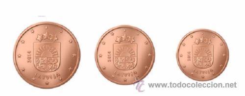 TRIO CENTIMOS DE EURO 1 - 2 - 5 LETONIA 2014 SC (Numismática - España Modernas y Contemporáneas - Ecus y Euros)