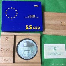 Euros: 25 ECU PLATA - AÑO 1992 - CON CERTIFICADO Y ESTUCHE - PLATA - MADRID CAPITAL EUROPEA. Lote 214305852