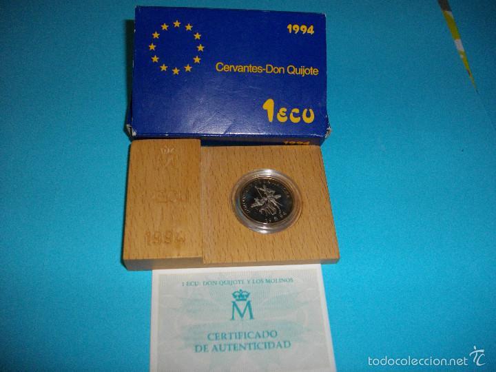 MONEDA DE 1 ECUS DE PLATA DEL AÑO 1,994 NUEVA EN SU ESTUCHE ORIGINAL CON CERTIFICADO (Numismática - España Modernas y Contemporáneas - Ecus y Euros)