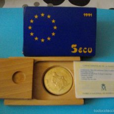 Euros: MONEDA DE 5 ECUS DE PLATA DEL AÑO 1,991 NUEVA EN SU ESTUCHE ORIGINAL CON CERTIFICADO. Lote 60424747