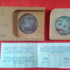 Euros: MONEDA DE 5 ECU DE PLATA DE LEY DEL AÑO 1989. EN SU CAJA ORIGINAL DE MADERA Y CON VERTIFICADO. Lote 287972228