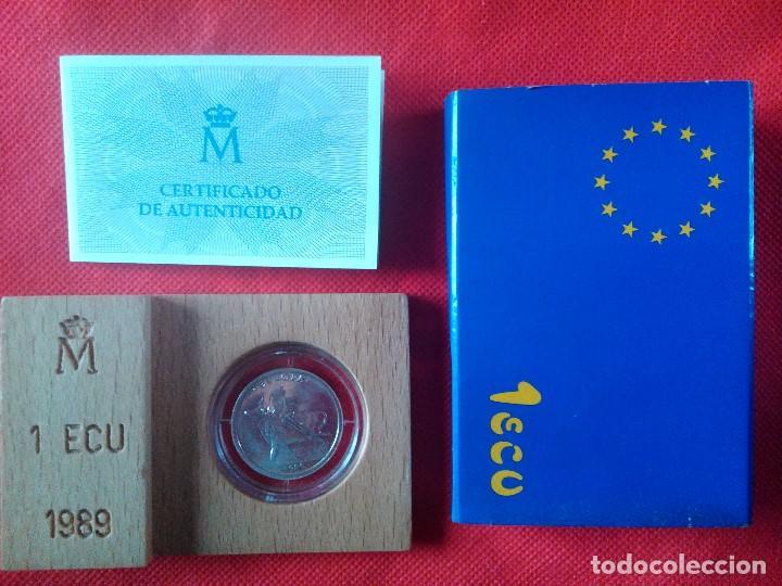 MONEDA DE 1 ECU DE PLATA DE LEY DEL AÑO 1989. EN SU CAJA ORIGINAL DE MADERA Y CON VERTIFICADO (Numismática - España Modernas y Contemporáneas - Ecus y Euros)
