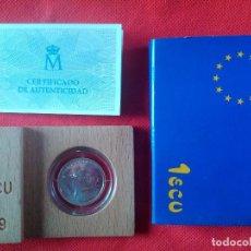 Euros: MONEDA DE 1 ECU DE PLATA DE LEY DEL AÑO 1989. EN SU CAJA ORIGINAL DE MADERA Y CON VERTIFICADO. Lote 287972253