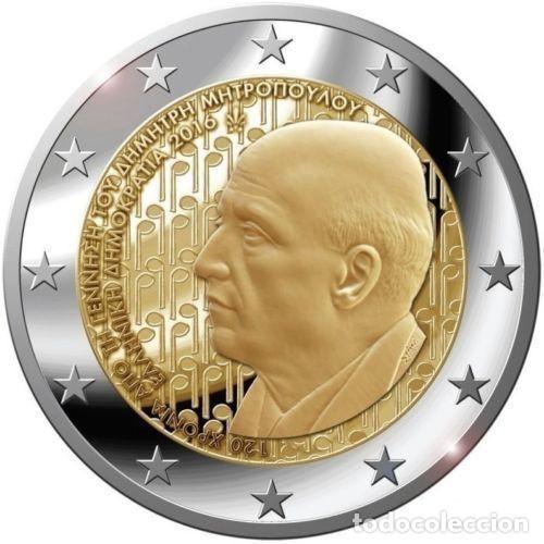 GRECIA 2 EUROS 2016 120 AÑOS DEL NACIMIENTO DE DIMITRI MITRÓPOULOS (Numismática - España Modernas y Contemporáneas - Ecus y Euros)