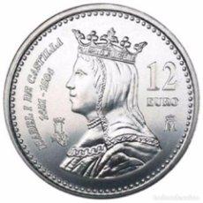 Euros: ESPAÑA 2004. 12 EUROS DE PLATA CONMEMORATIVOS DE ISABEL I DE CASTILLA. EN SU FUNDA ORIGINAL.. Lote 195215548