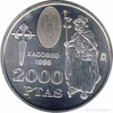 Euros: ESPAÑA 1999. 2000 PESETAS DE PLATA CONMEMORATIVAS DEL XACOBEO 1999. EN SU FUNDA ORIGINAL.. Lote 195215793