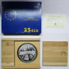 Euros: 25 ECU. MADRID CAPITAL EUROPEA DE LA CULTURA. 1992. GRAN MONEDA DE PLATA. LOTE 0594. Lote 95137951