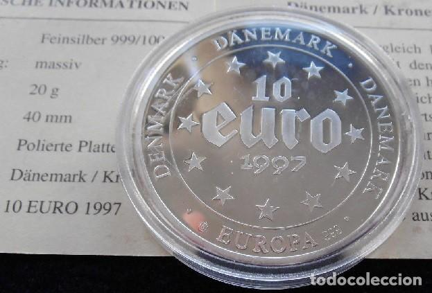 Euros: MONEDA 10 EUROS DINAMARCA 1997 EN PLATA MACIZA DE 999/1000 20 GR CALIDAD PROOF CON CERTIFICADO - Foto 2 - 136678276