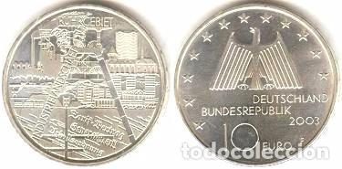 ALEMANIA - 10 EUROS 2003 F - KM#224 - DISTRITO INDUSTRIAL DE RUHR (Numismática - España Modernas y Contemporáneas - Ecus y Euros)