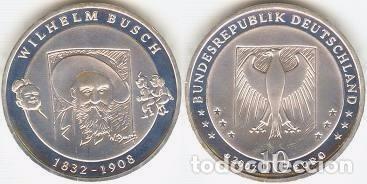 ALEMANIA - 10 EUROS 2007 D - KM#265 - 175º ANIVERSARIO DEL NACIMIENTO DE WILHELM BUSCH (Numismática - España Modernas y Contemporáneas - Ecus y Euros)