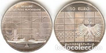 ALEMANIA - 10 EUROS 2007 J - KM#266 - 50º ANIVERSARIO DEL BANCO FEDERAL ALEMÁN (Numismática - España Modernas y Contemporáneas - Ecus y Euros)