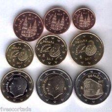 Euros: ESPAÑA 2017. TIRA, SERIE DE EUROS DE 1 CENTIMO A 2 EUROS + S MARIA NARANCO.. 9 VALORES. DE CARTUCHO. Lote 113091030