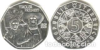 AUSTRIA - 5 EUROS 2009 - KM#3177 - BICENTENARIO DE LA REBELIÓN TIROLESA (Numismática - España Modernas y Contemporáneas - Ecus y Euros)