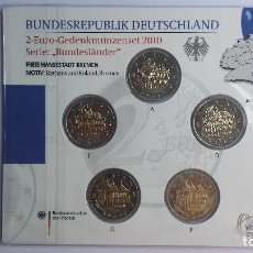 Euros: ALEMANIA 2010 BREMEN 5 MONEDAS DE 2 EUROS 5 CECAS. Lote 52017742