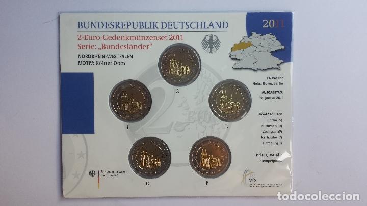 ALEMANIA 2011 RENANIA-WESTFALIA 5 MONEDAS DE 2 EUROS 5 CECAS (Numismática - España Modernas y Contemporáneas - Ecus y Euros)