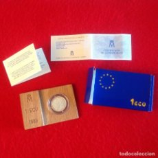 Euros: MONEDA DE 1 ECU DE PLATA 1989, EUROPA, CERTIFICADA CON EL NÚMERO 0047707, EN SU ESTUCHE, VER FOTOS.. Lote 100136811