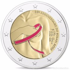 Euros: FRANCIA 2017. 2 EUROS PROOF CONMEMORATIVOS DEL LAZO AZUL CANCER DE MAMA. COLOREADOS. CAJA Y CERTIFIC. Lote 101187475