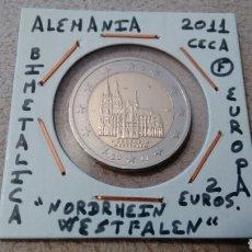Euros: MONEDA 2 EUROS ALEMANIA CECA F 2011 NORDRHEIN WESTFALLEN MBC ENCARTONADA. Lote 194690915