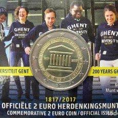 Euros: BELGICA 2017. COINCARD DE 2 EUROS CONMEMORATIVA DE LA UNIVERSIDAD DE GANTE. VERSION ALEMANA. Lote 206300952