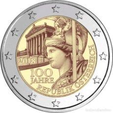 Euros: AUSTRIA 2018. MONEDA DE 2 EUROS CONMEMORATIVA DE LOS 100 AÑOS DE LA REPUBLICA DE AUSTRIA. Lote 143527889