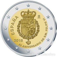 Euros: ESPAÑA 2018. MONEDA DE 2 EUROS CONMEMORATIVA DEL 50 ANIVERSARIO DEL REY FELIPE VI. Lote 113091292
