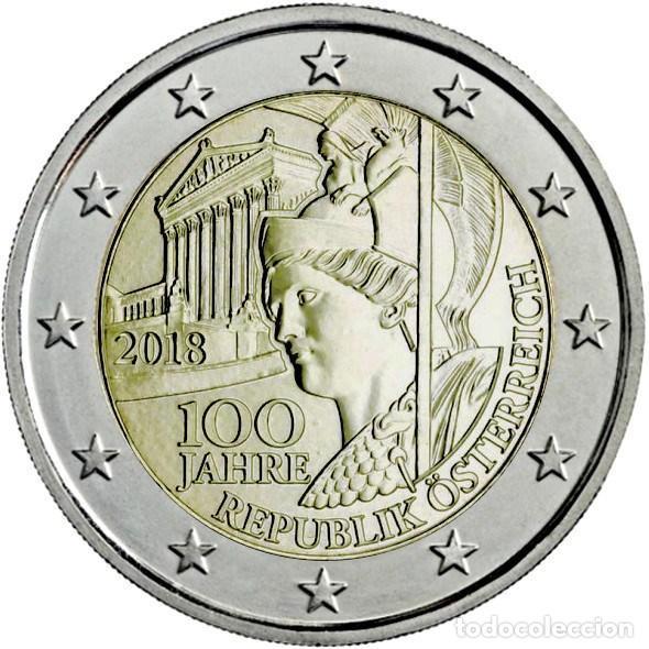 AUSTRIA 2 EUROS 2018 100 AÑOS DE LA REPÚBLICA DE AUSTRIA (Numismática - España Modernas y Contemporáneas - Ecus y Euros)
