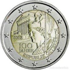 Euros: AUSTRIA 2 EUROS 2018 100 AÑOS DE LA REPÚBLICA DE AUSTRIA. Lote 187429012
